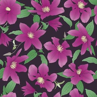 Modello senza saldatura con fiori di clematide.