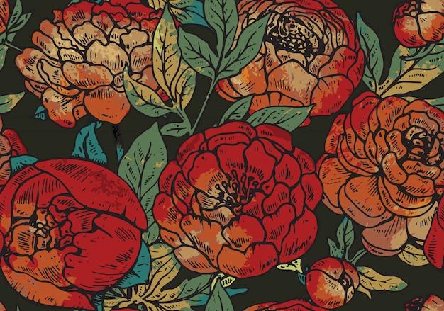Modello senza saldatura con fiori di peonia disegnati a mano