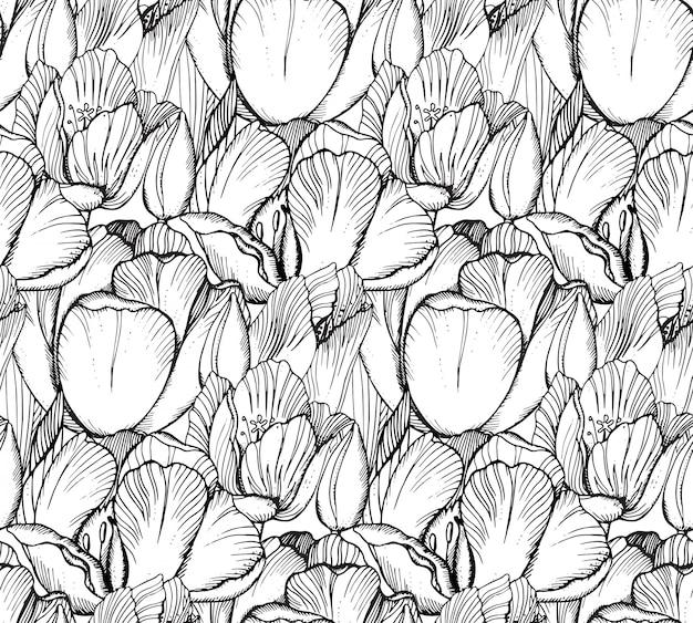 Modello senza saldatura con fiori di primavera grafica (tulipani) in stile vintage