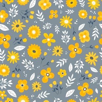 Modello senza saldatura con fiori gialli su grigio