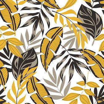 Modello senza saldatura con foglie tropicali