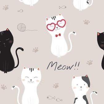 Modello senza saldatura con gatti simpatico cartone animato.