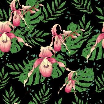 Modello senza saldatura con ramo di orchidea stilizzato
