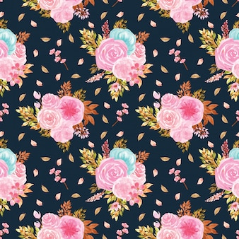 Modello senza saldatura con splendidi fiori blu e rosa