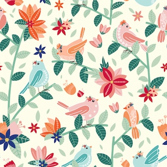 Modello senza saldatura con uccelli e fiori