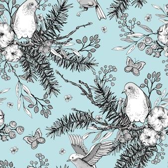 Modello senza saldatura primavera floreale vintage con uccelli, rami di abete, cotone, fiori e farfalle