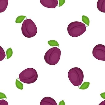Modello senza saldatura prugna. cibo vegetariano biologico. utilizzato per superfici di design, tessuti, tessuti, carta da imballaggio