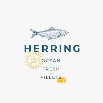 Modello, simbolo o logo astratto di vettore dei filetti freschi dell'oceano.