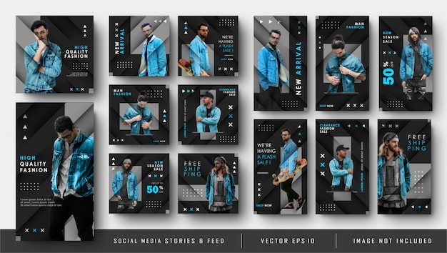 Modello sociale blu nero dell'insegna della posta e di storie dell'alimentazione di instagram di media