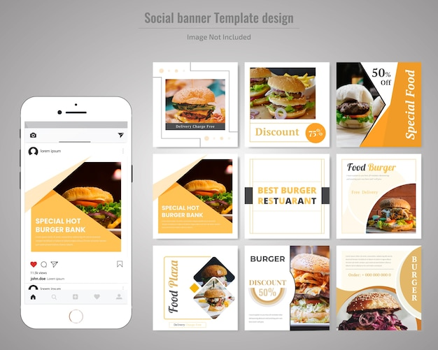 Modello sociale dell'alimento di media dell'alimento per il ristorante