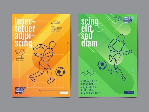Modello sport layout design, design piatto, singola linea, illustrazione grafica, calcio, calcio