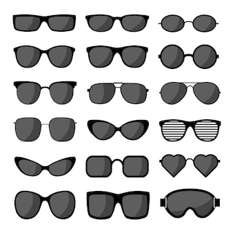 Modello stabilito dell'icona degli occhiali da sole. occhiali da sole neri, silhouette uomo e donna. illustrazione.