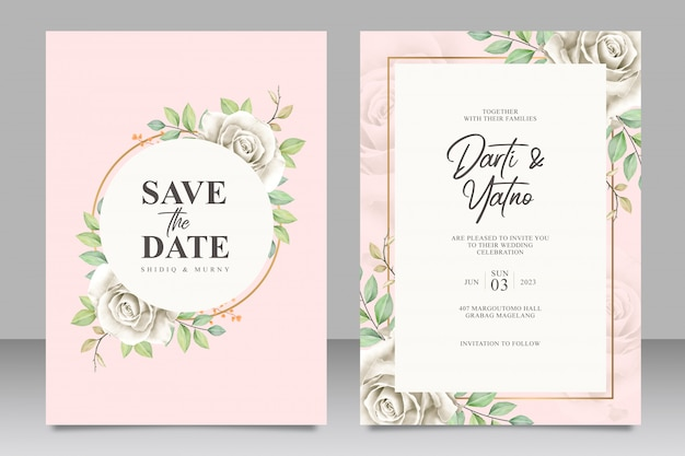 Modello stabilito della bella carta floreale della partecipazione di nozze