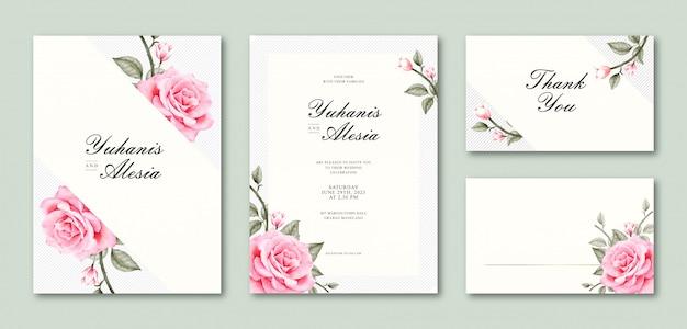 Modello stabilito della carta di nozze dell'acquerello elegante