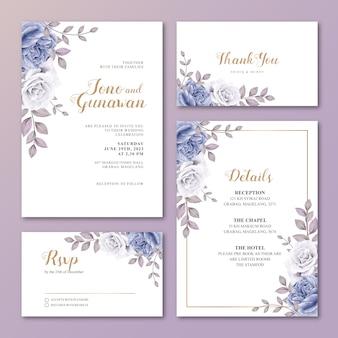 Modello stabilito della partecipazione di nozze con i bei fiori del blu delle rose
