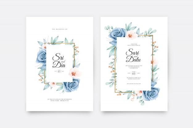 Modello stabilito della partecipazione di nozze con il bello acquerello blu rosa