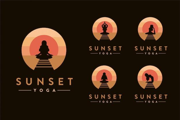 Modello stabilito di logo di yoga di tramonto