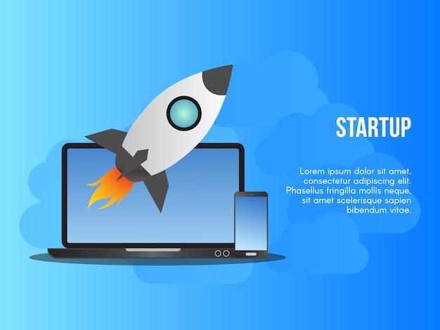 Modello startup di progettazione di vettore dell'illustrazione di concetto di affari