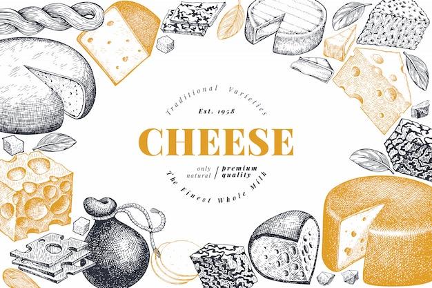 Modello struttura formaggio disegnata a mano illustrazione vettoriale da latte. banner di diversi tipi di formaggio stile inciso.