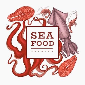 Modello struttura frutti di mare. illustrazione di frutti di mare disegnati a mano banner di cibo stile inciso. sfondo di animali marini retrò