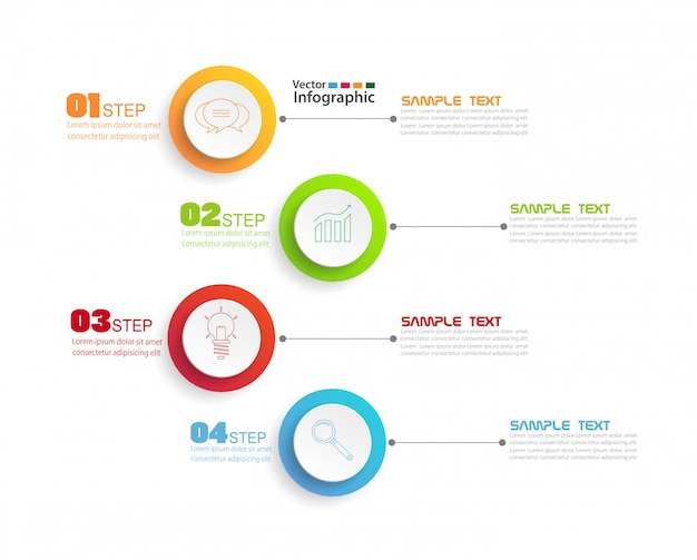 Modello struttura infografica con 4 passaggi