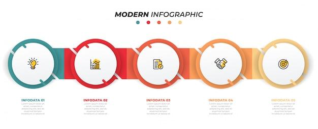 Modello struttura infografica con cerchi. concetto di business con 5 opzioni, passaggi. può essere utilizzato per diagramma del flusso di lavoro, grafico informativo, grafico, web design. vettore