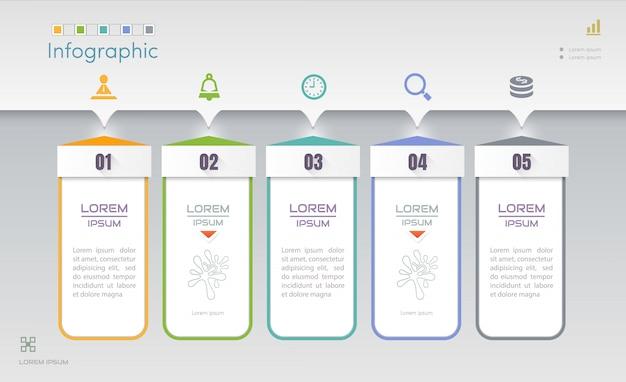 Modello struttura infografica con cinque passaggi