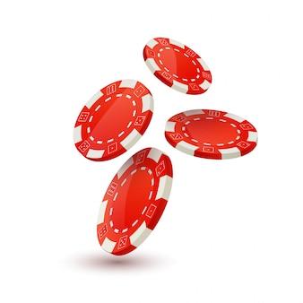 Modello struttura poker chips. chip che cadono all'alba. concetto di design del giocatore di poker