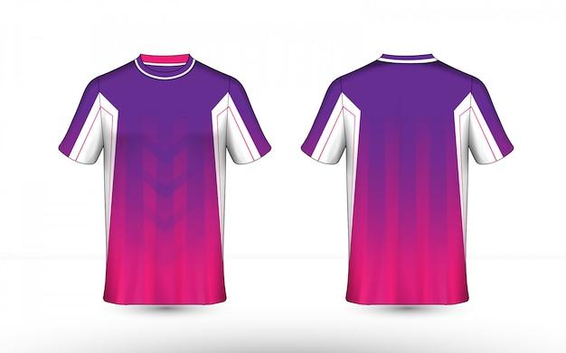 Modello struttura t-shirt e-sport layout viola, rosa e bianco