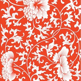 Modello su sfondo rosso con fiori cinesi.
