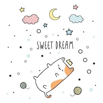 Modello sveglio del fondo di sogno di sonno del gattino sveglio del gatto