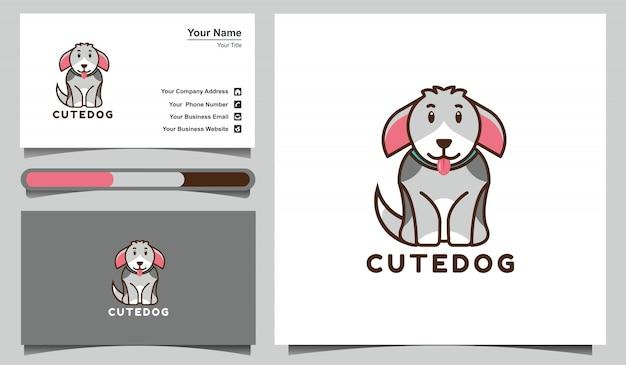Modello sveglio di progettazione di logo del cane dell'illustrazione