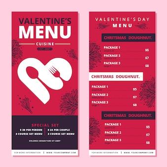 Modello tematico per il menu di san valentino