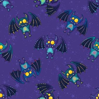 Modello tribale disegnato a mano sveglio del pipistrello per halloween felice