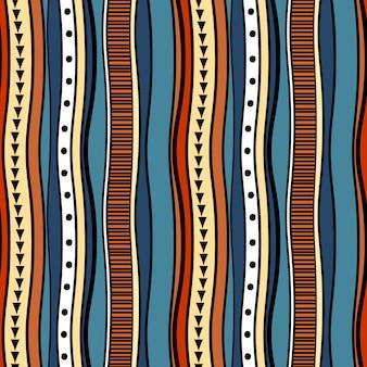 Modello tribale sfondo colorato disegnato a mano strisce
