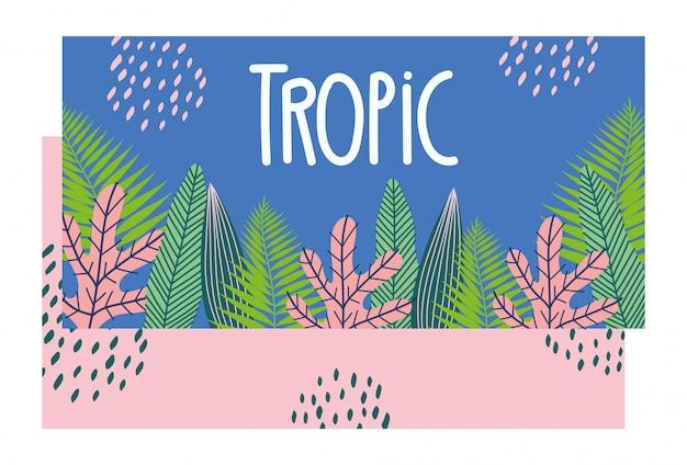 Modello tropicale con foglie e piante su sfondo di colore
