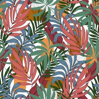 Modello tropicale con foglie e piante