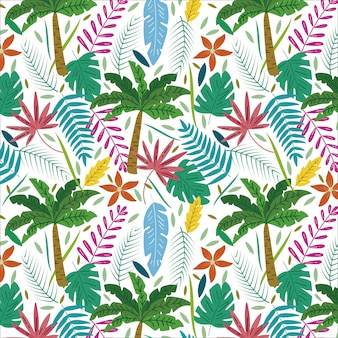 Modello tropicale con palme e foglie esotiche dell'estate