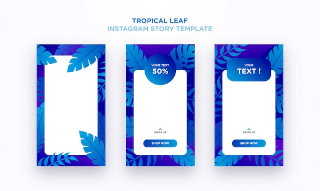 Modello tropicale di storia di instagram della foglia
