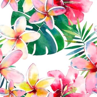 Modello tropicale di una mano acquerello foglie di palma e fiori di ibisco