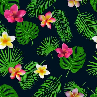 Modello tropicale disegnato a mano senza cuciture