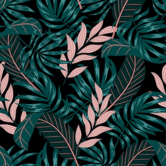 Modello tropicale senza cuciture astratto con le foglie e le piante verdi e rosa