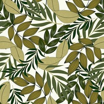 Modello tropicale senza cuciture astratto con le piante e le foglie luminose di giallo e verde