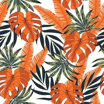Modello tropicale senza cuciture astratto con piante e foglie luminose su un bianco