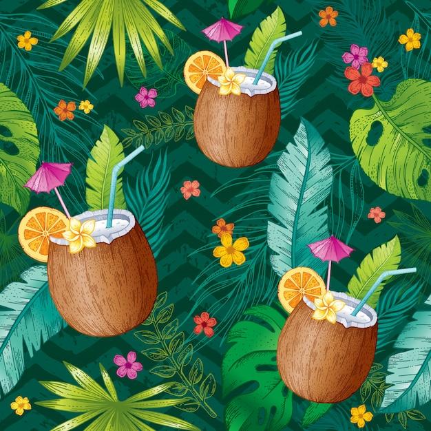 Modello tropicale senza cuciture con foglia di schizzo, cocktail di cocco, fiori. sfondo di moda alla moda.