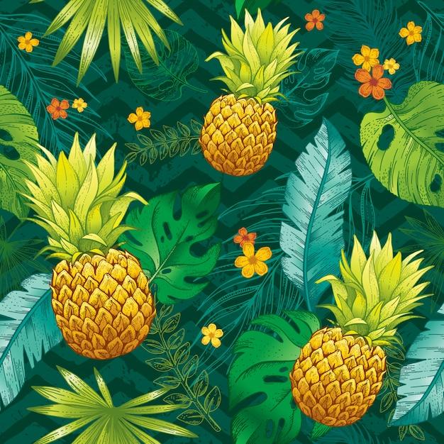 Modello tropicale senza cuciture con foglia di schizzo, frutti di ananas, fiori. sfondo di moda alla moda.