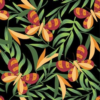 Modello tropicale senza cuciture con foglie, farfalle e piante brillanti