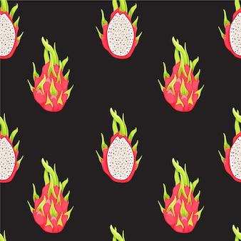 Modello tropicale senza cuciture con i frutti del drago e la metà di pitahaya.