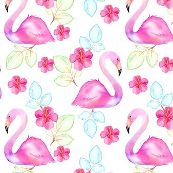 Modello tropicale senza cuciture con uccelli, foglie e fiori dell'acquerello