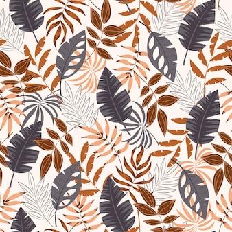 Modello tropicale senza cuciture di estate con le foglie e le piante su fondo bianco